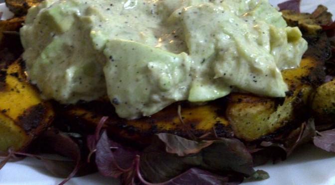 Layered Sweet Potato, Mushroom and Avocado Salad