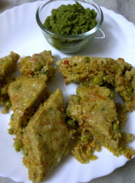 Carrot and Green Pea Dhokla
