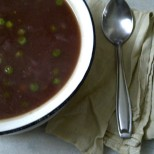 Fat Free Red Cabbage, Carrot and Pea Soup