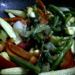 Green Noodles - Add the Red Pepper and Baby Corn