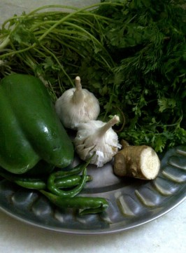 Ingredients for Green Chutney/Indian Pesto
