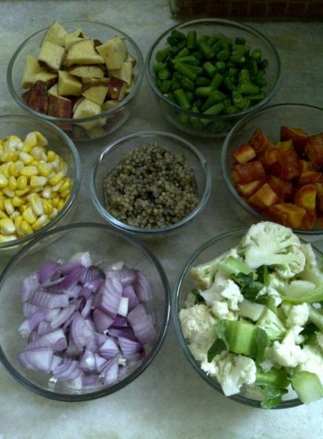Ingredients for Vegetable and Pearl Millet Broth