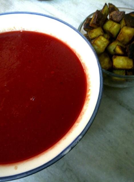 Soup with Sweet Potato Crouton