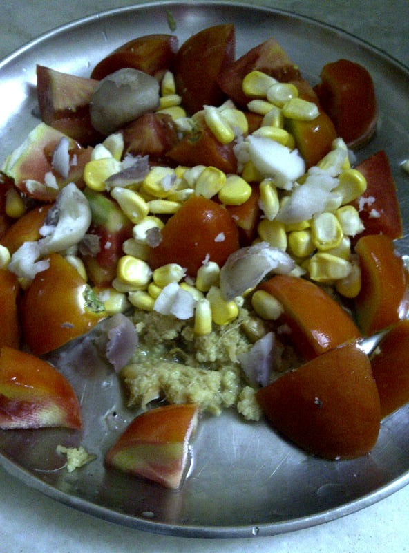Tomatoes, Sweetcorn Kernels, Water chestnuts and Grated Ginger for Fat Free Fennel and Ginger Scented Creamy Tomato Soup
