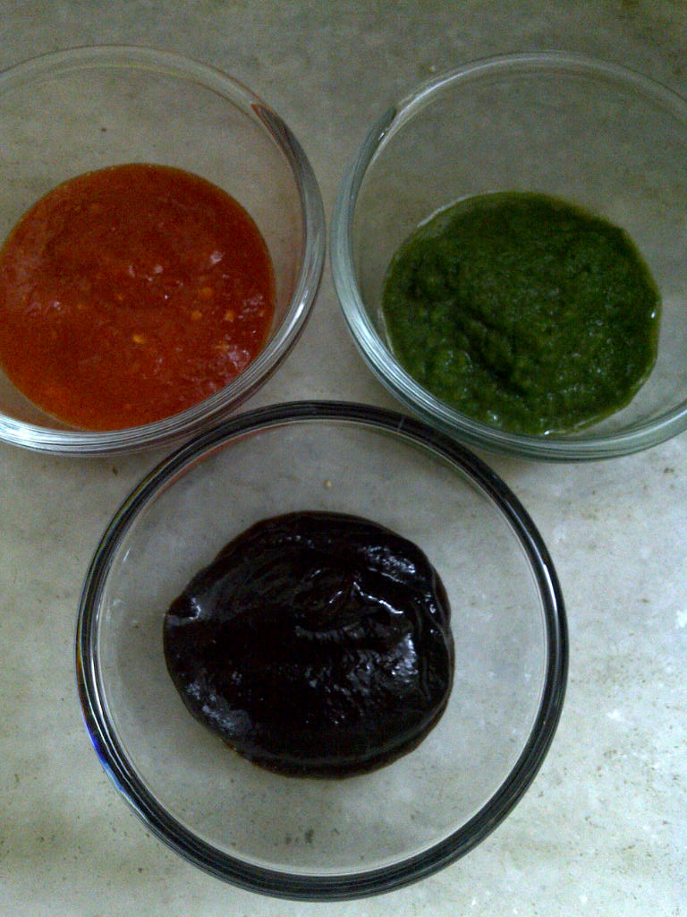 Chutneys for Bhel of Popped Amaranth Seeds & Khakhra
