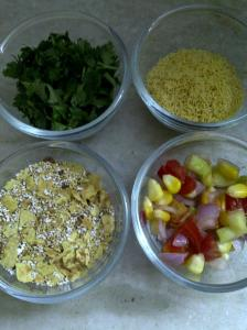 Dry Ingredients for Bhel of Popped Amaranth Seeds & Khakhra