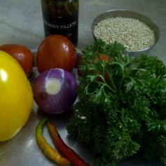 Ingredients for Quinoa With Pepper & Pistachio