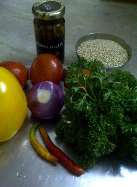 Ingredients for Quinoa With Pepper & Pistachio