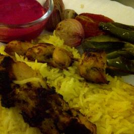 Joojeh Kebabs with Grilled Vegetables and Beetroot Yoghurt