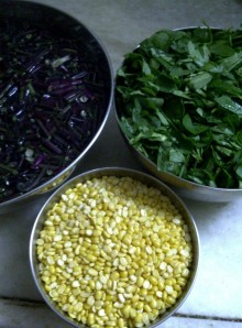 Rat-tailed Radish, Moong Dal and Fenugreek Leaves