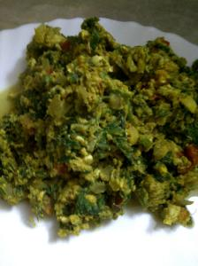 Spicy Scrambled Eggs with Spinach