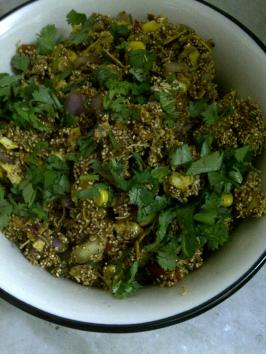 Virtually Fat-free Bhel of Popped Amaranth Seeds & Khakhra