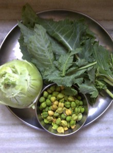 Kohlrabi & Fresh Green Chickpeas for Idada