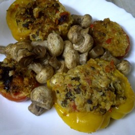 Sprout, Pumpkin & Quinoa Souffled Pepper