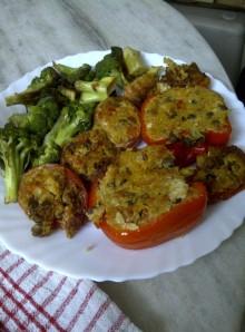 Sprout, Pumpkin & Quinoa Souffled Stuffed Pepper