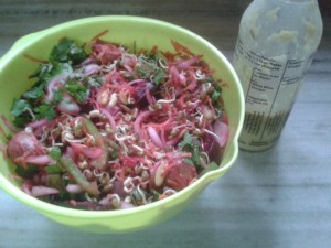 Salad of Sprouted Fennel Seeds, Fenugreek Seeds, Moong and Veggies with Chilli Spiked Dressing