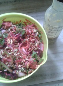 Salad of Sprouted Fennel Seeds, Fenugreek Seeds, Mung and Veggies with Chilli Spiked Dressing
